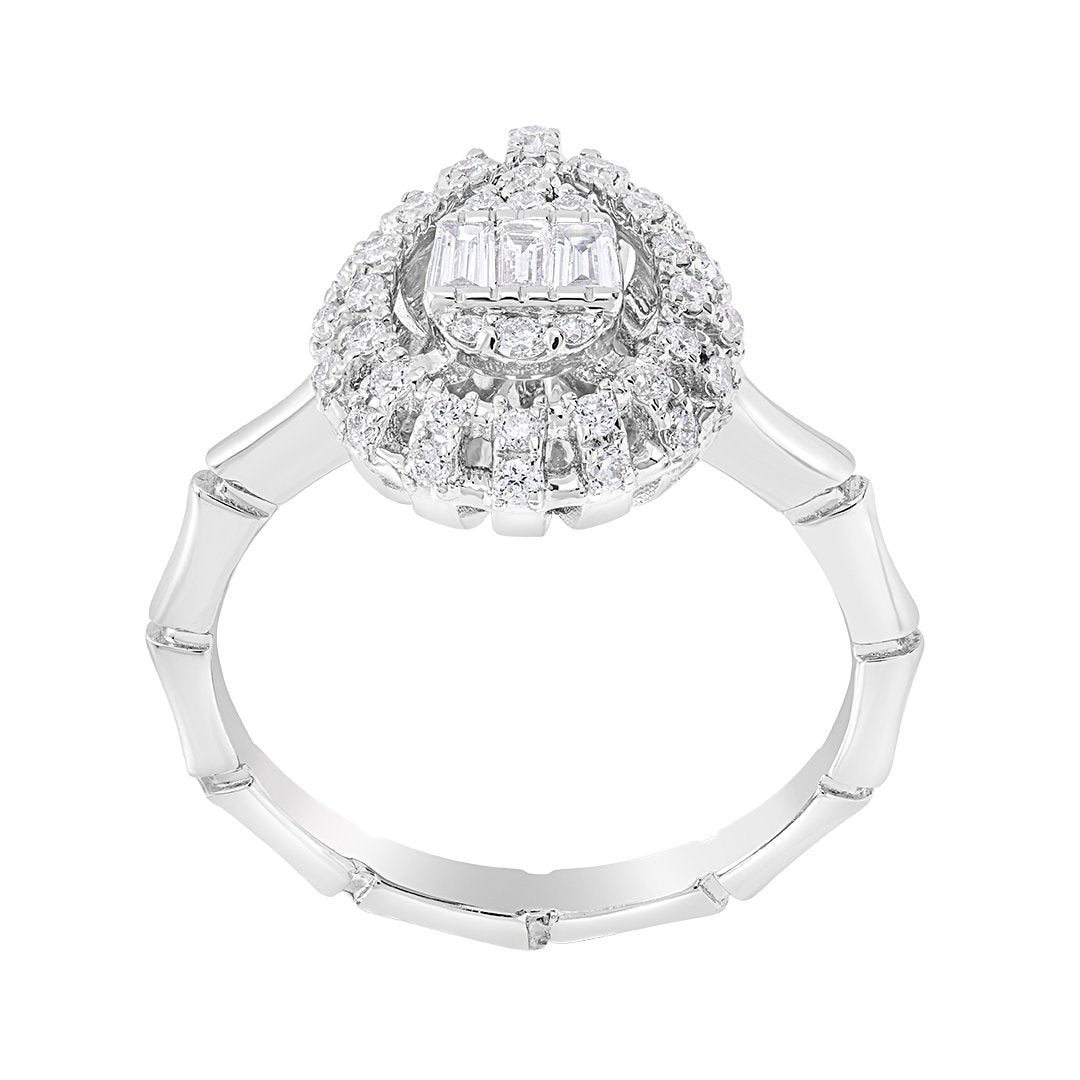 Charming Halo Set Diamond Ring In White Gold