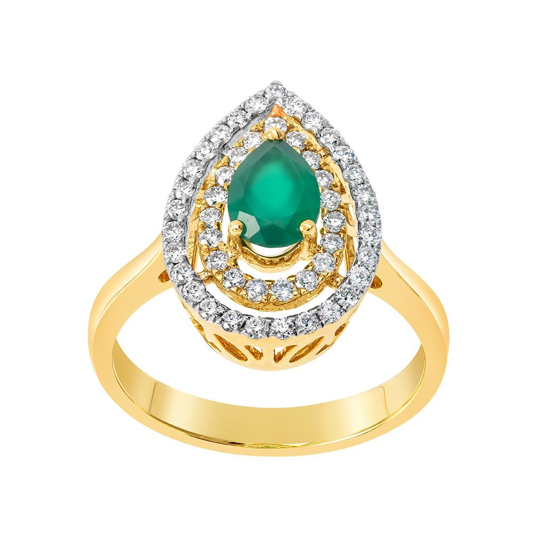 Emerald Double Halo Diamond Ring