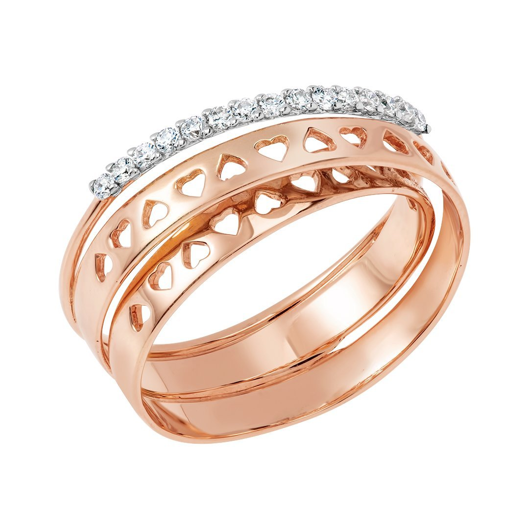 Swirling Gold Bands Diamond Ring