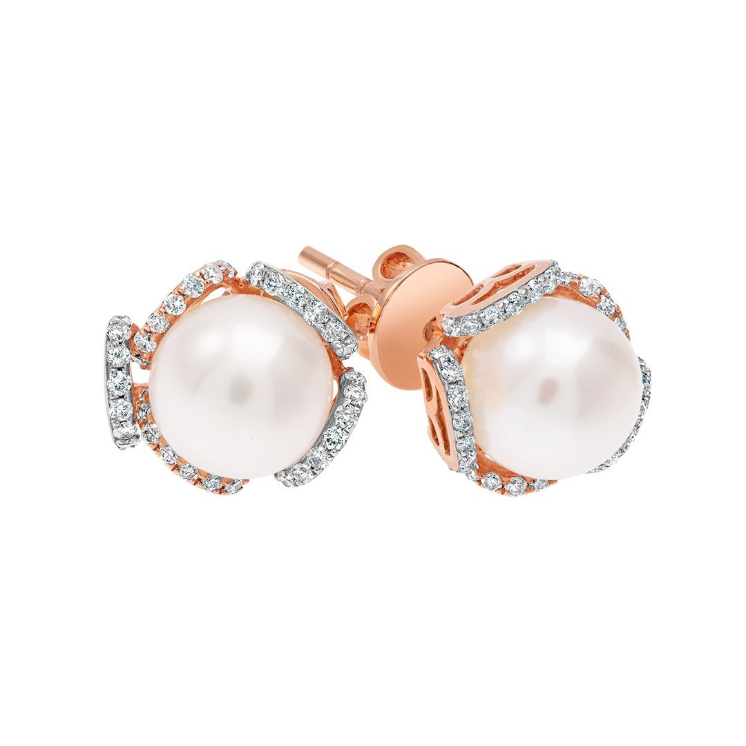 White Pearl Diamond Earring