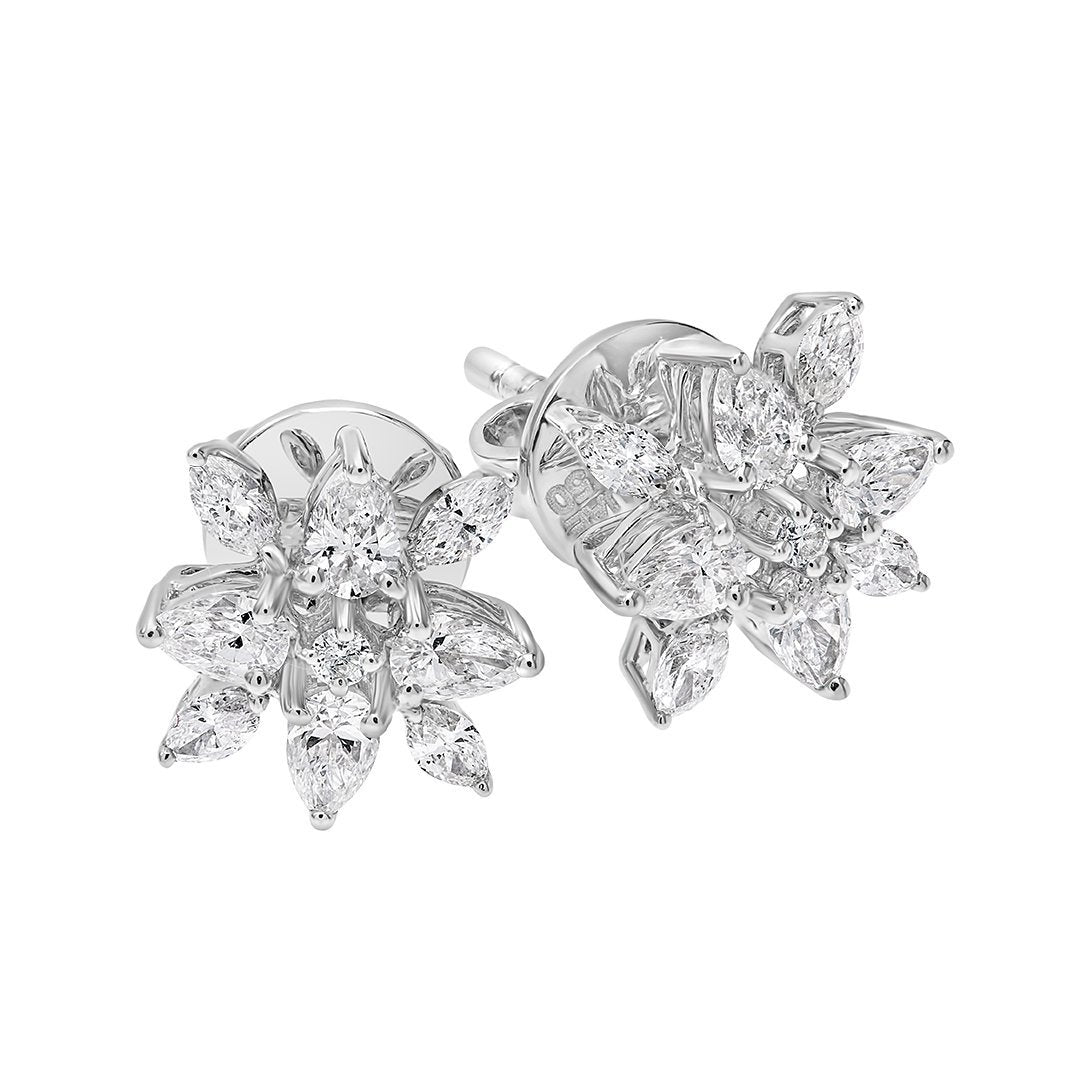 Precious Flower Diamond Earring In Gold