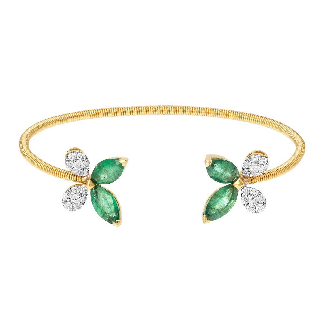 Engrossing Green Emerald Butterfly Diamond Bangle