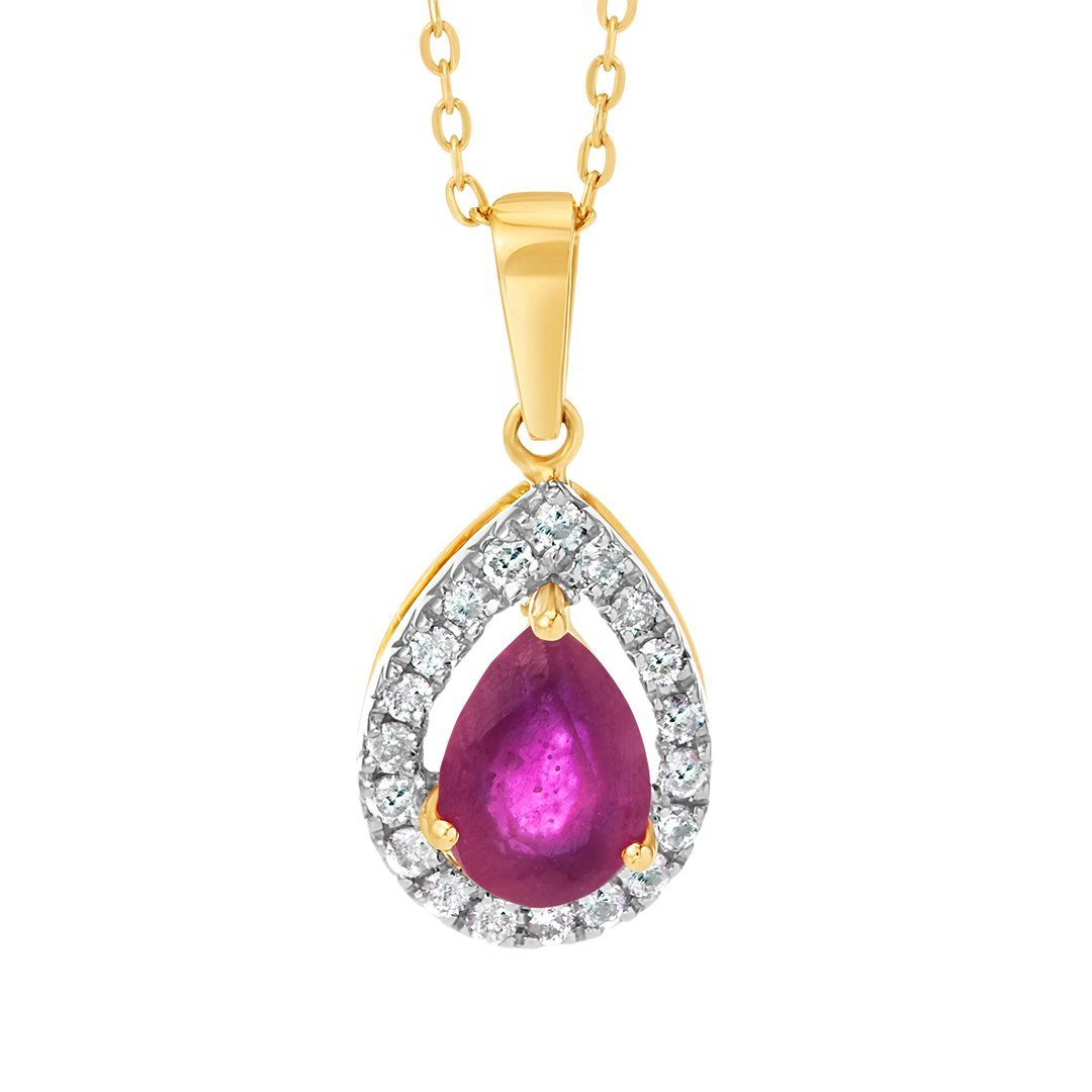 Drop-Shaped Gemstone Diamond Pendant