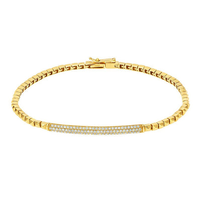 Triple Row Diamond Bracelet In Gold