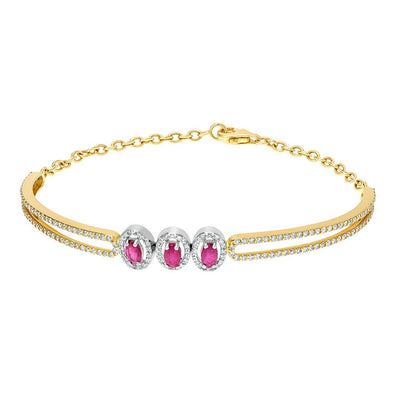 Trio Pink Ruby Diamond Bangle