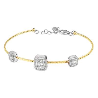 Trio Baguette Cluster Diamond Bangle