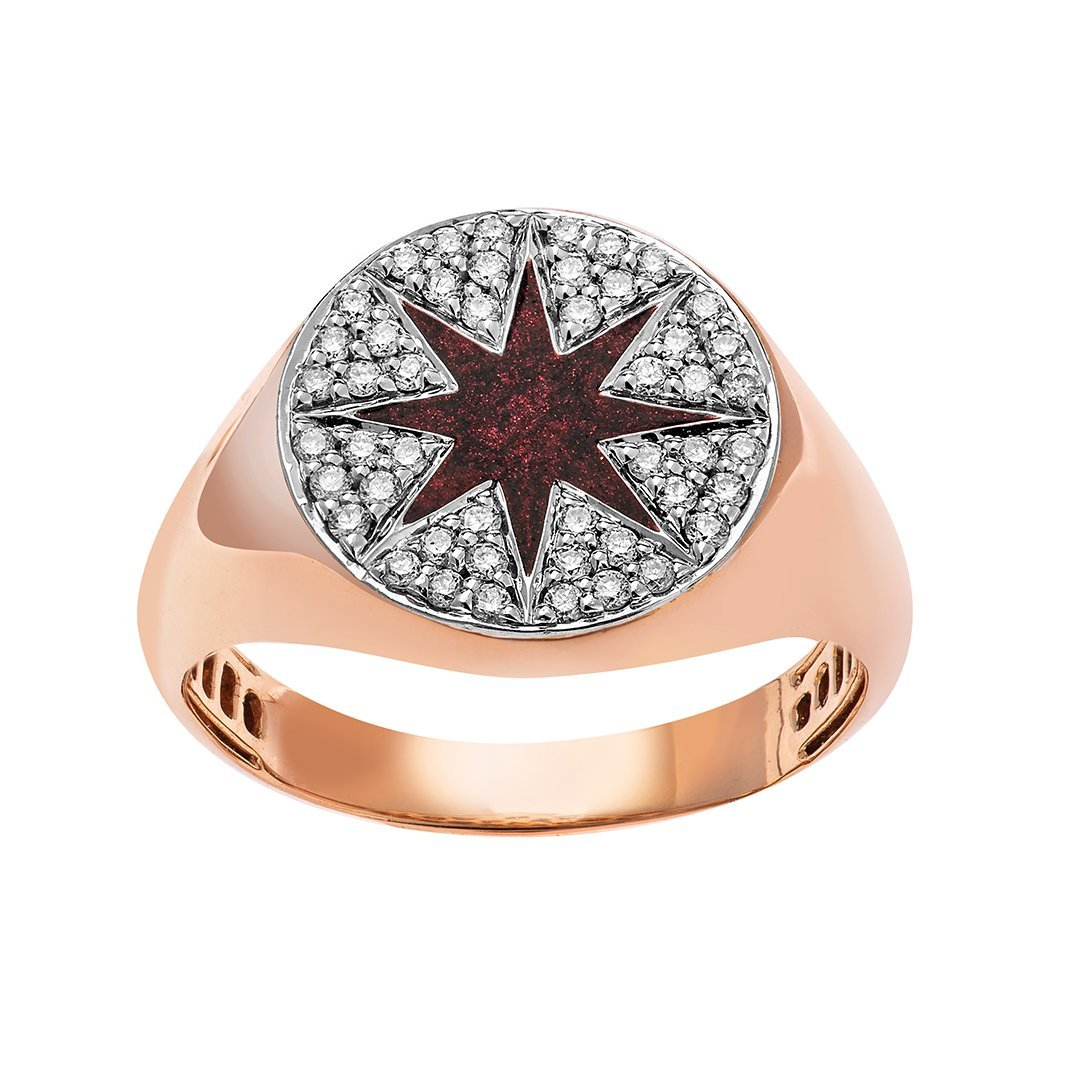 Red Mystic Star Diamond Ring