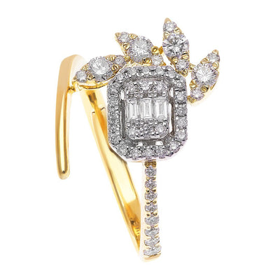 Square Motif Baguette Diamond Ring