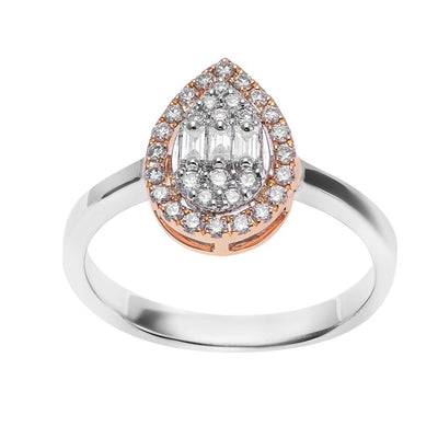 Pear Shape Motif Diamond Ring In Gold