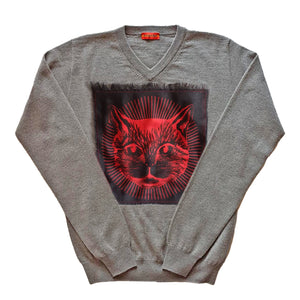 Gucci Cat Cashmere V-Neck Sweater Grey / Black