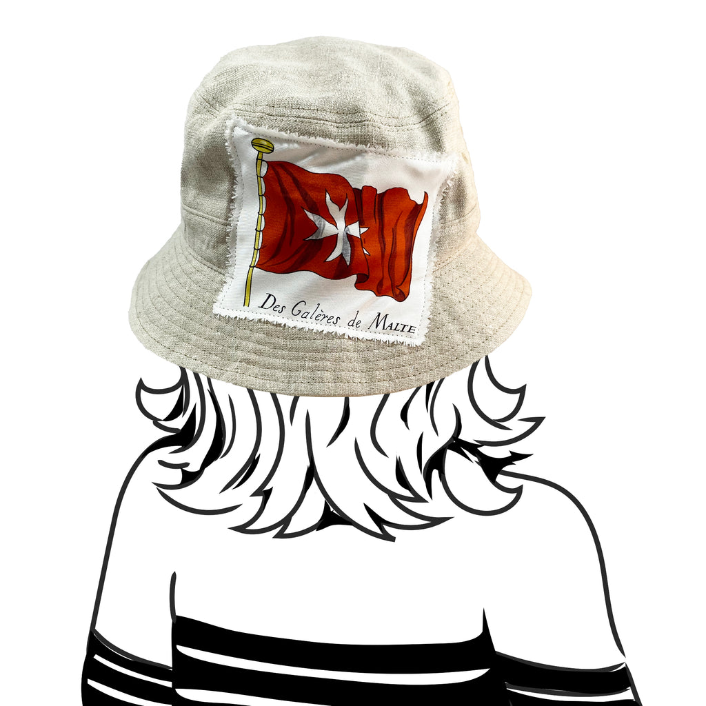 Bucket Hat - Natural Linen with Gucci and Hermes Silk - S/M