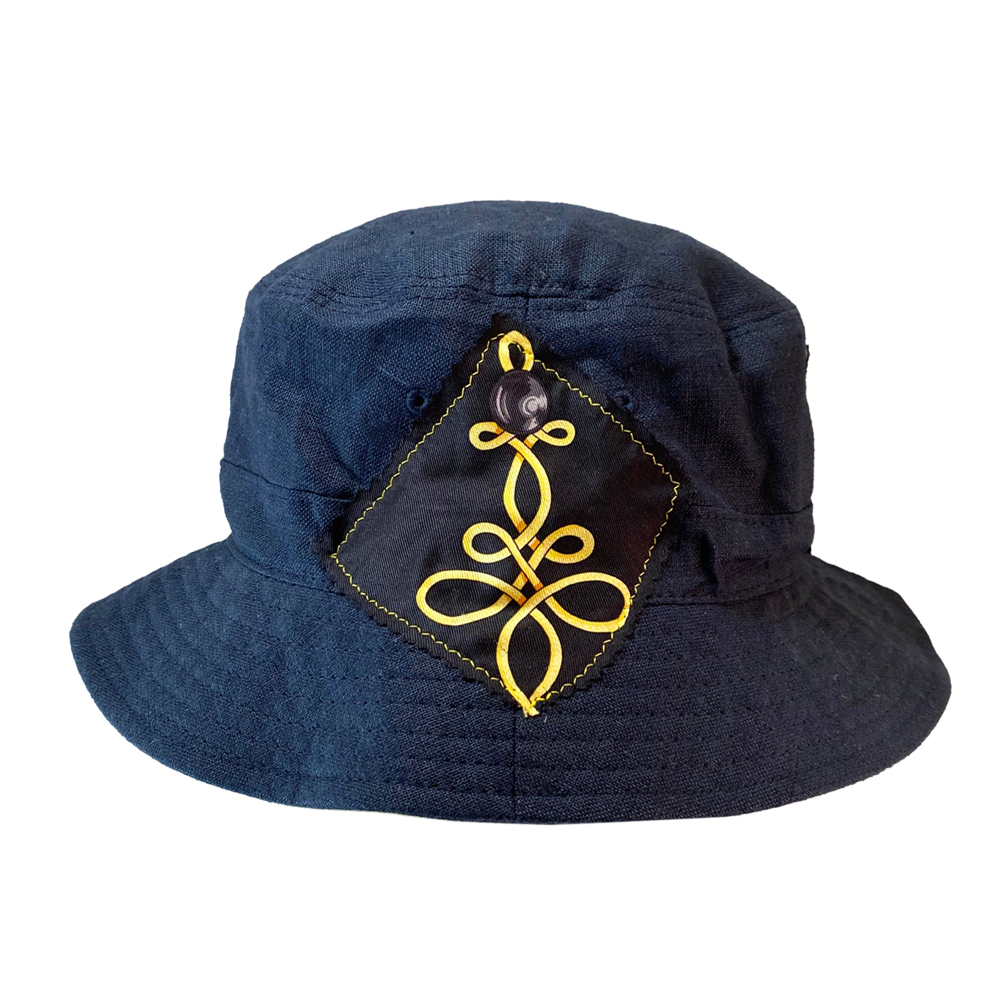 Bucket Hat - Navy Linen with Hermes Silk - XS/S