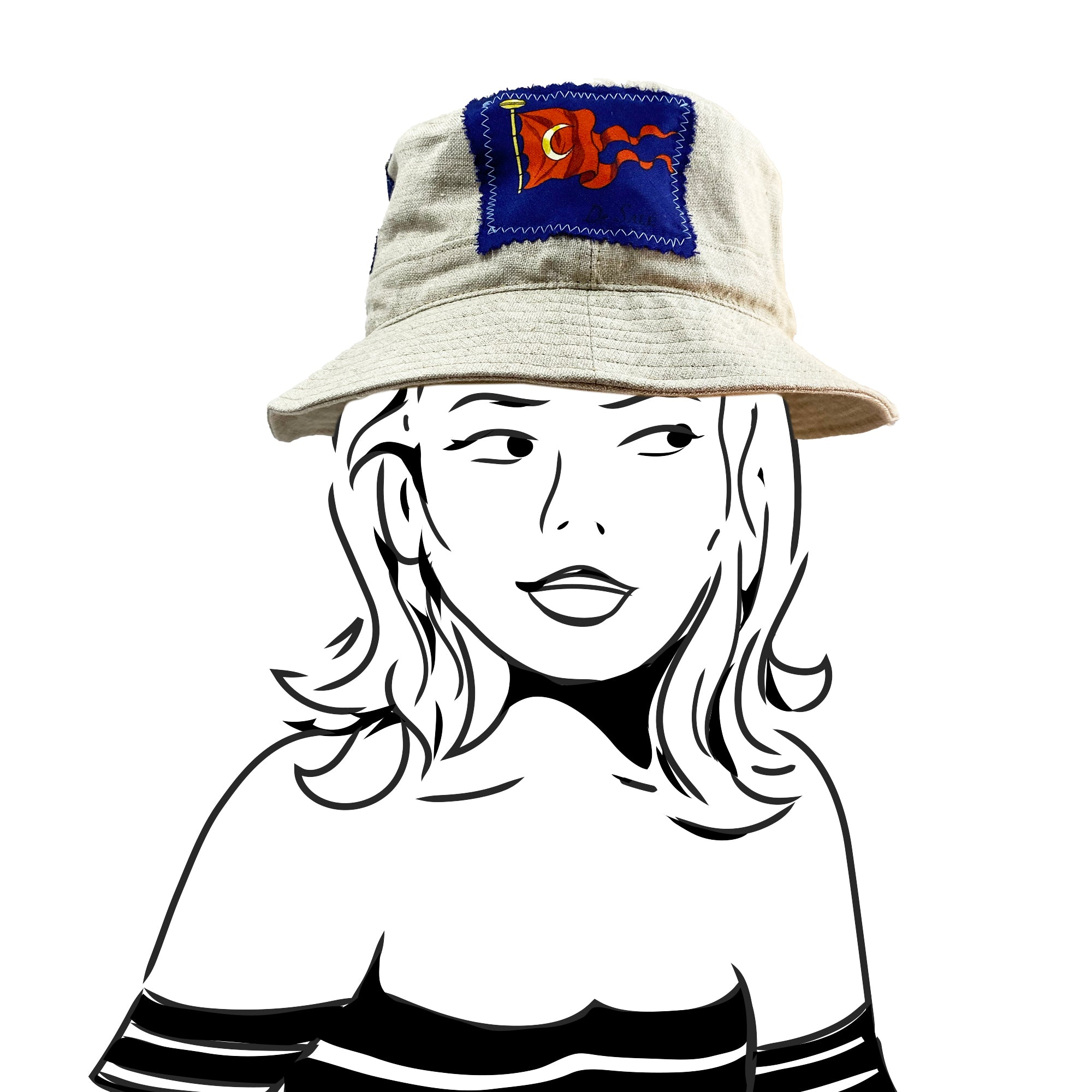Bucket Hat - Natural Linen with Hermes Silk - XS/S