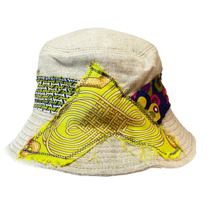 Bucket Hat - Natural Linen with Hermes and Emilio Pucci Silk - S/M