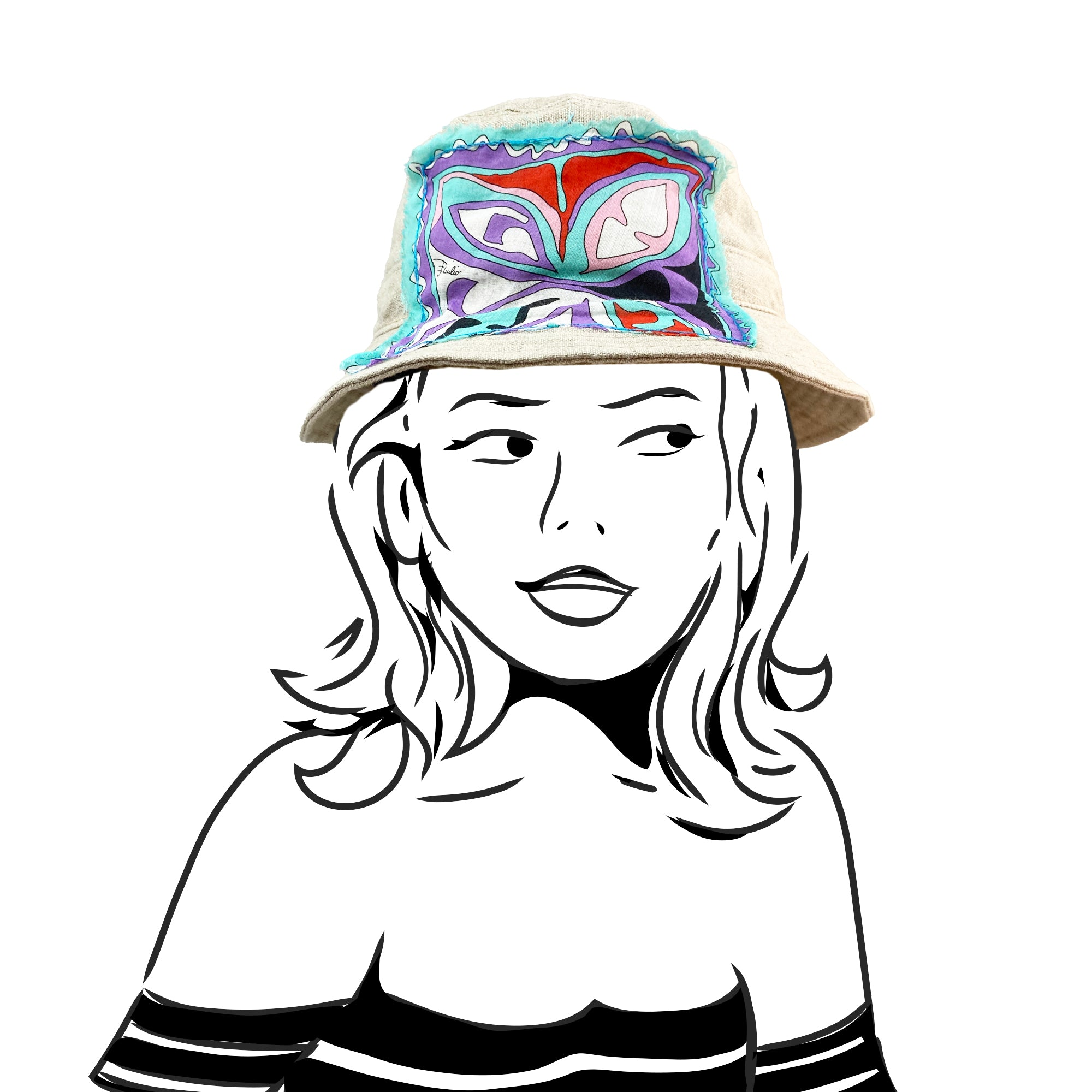 Bucket Hat - Natural Linen with Emilio Pucci Silk - M/L