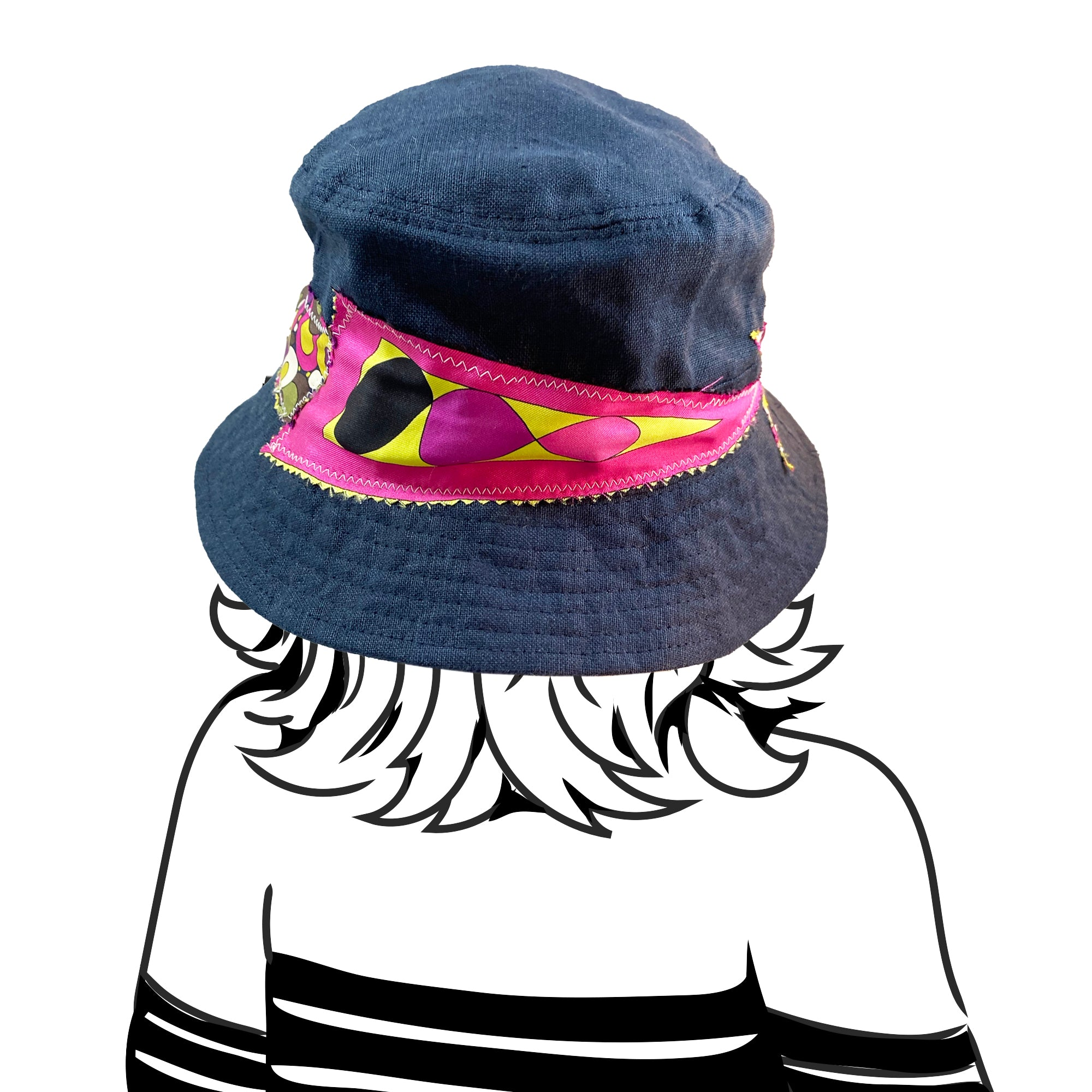 Bucket Hat - Navy Linen with Emilio Pucci Silk - XS/S