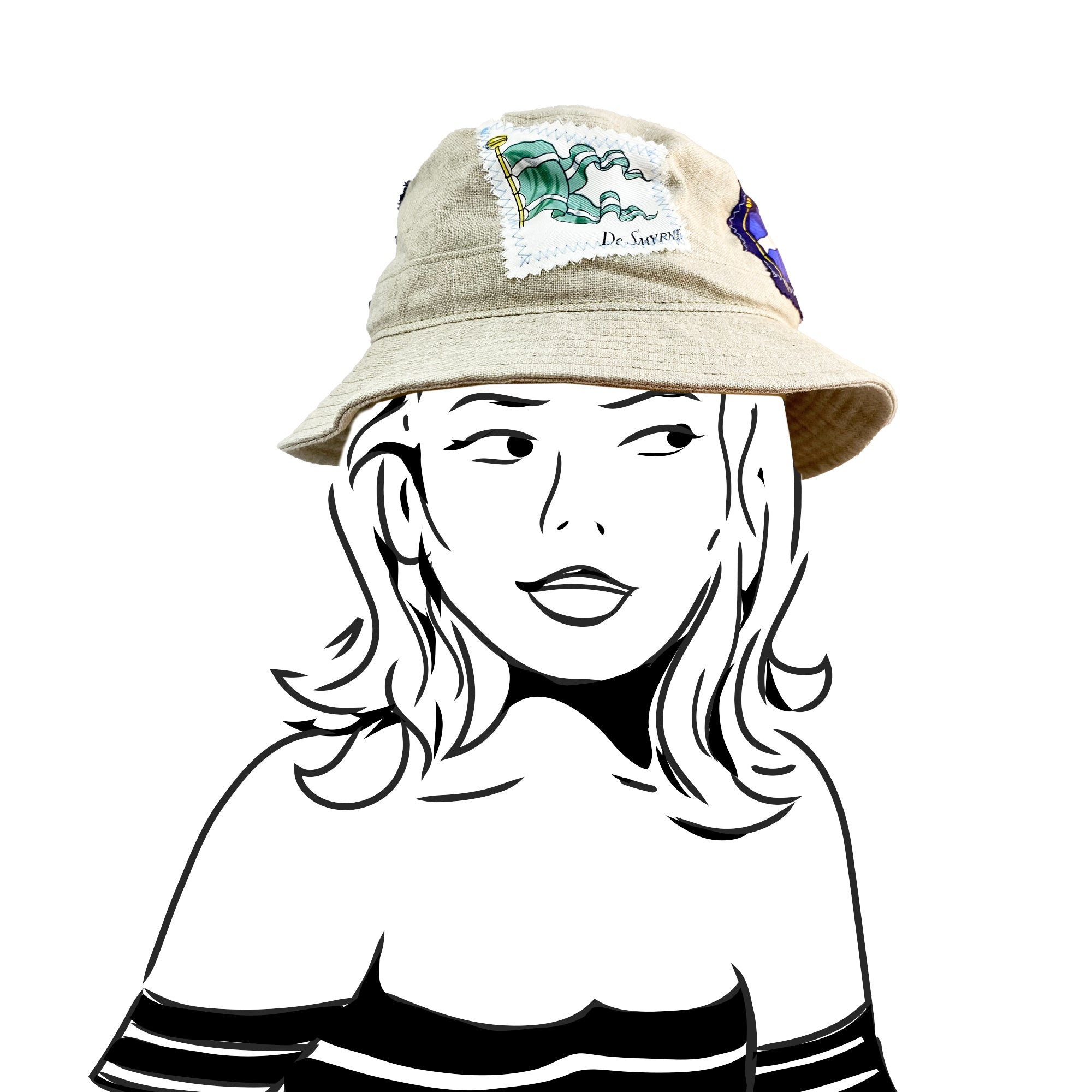 Bucket Hat - Natural Linen with Hermes Silk - S/M