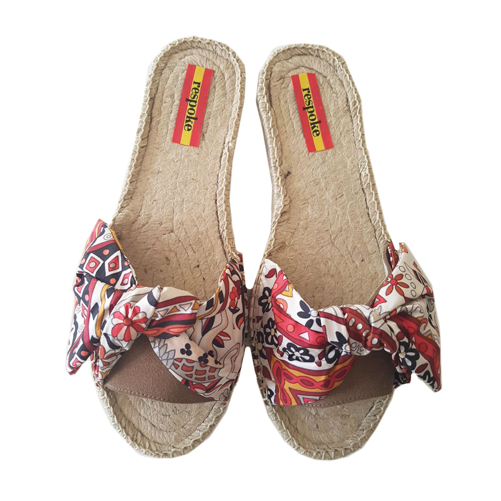 JOVANNA White/Brown Bow Slide Espadrilles