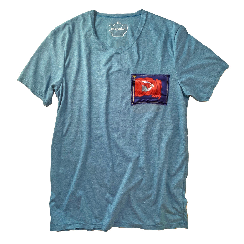 T-Shirt with Flag Motif Silk Patch