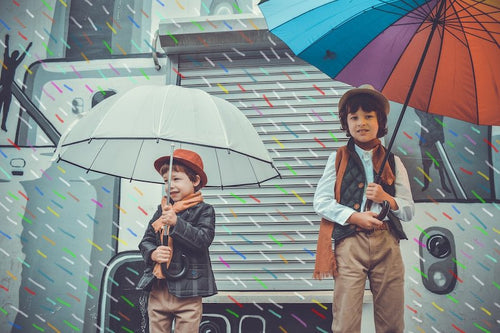 Kids picture showing two boys holding umbrella - Destiny Fashion Shop-Shoe Dept, Clothes, Bags, Tactical, Sports & Home