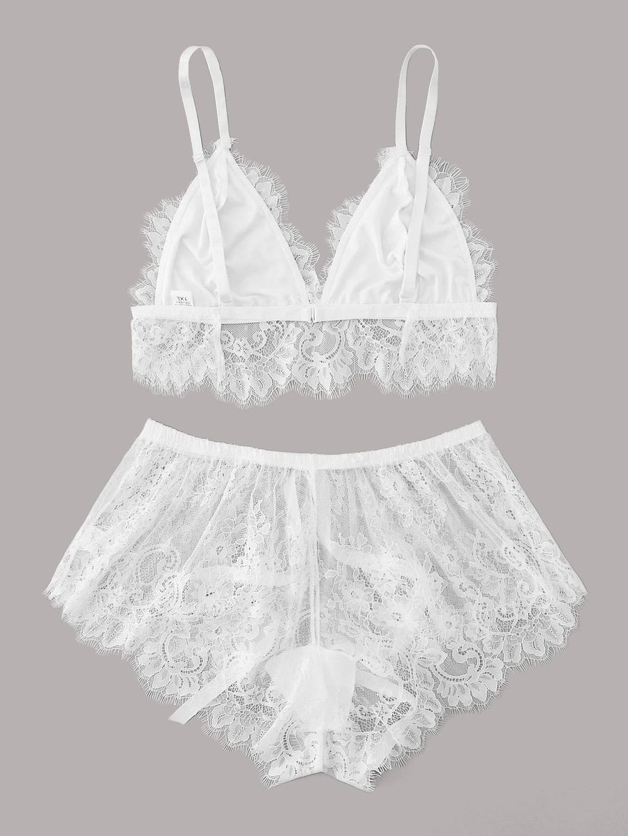 Plus Floral Lace Bralette With Shorts