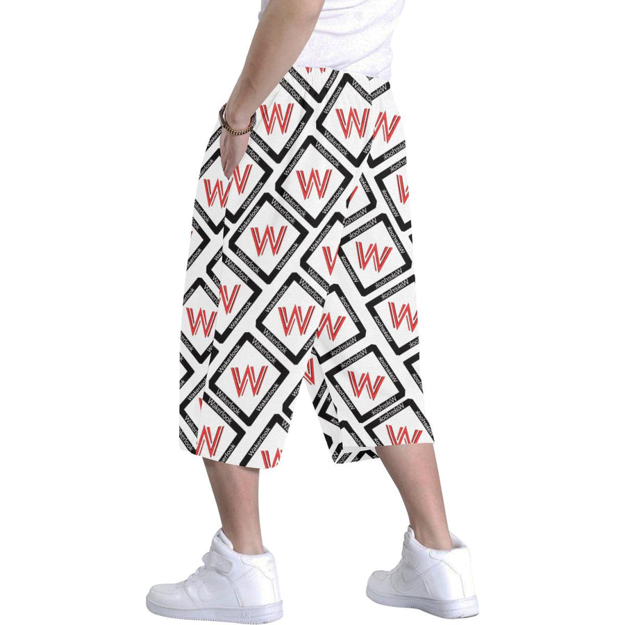 Men's Wakerlook Print White Baggy Shorts
