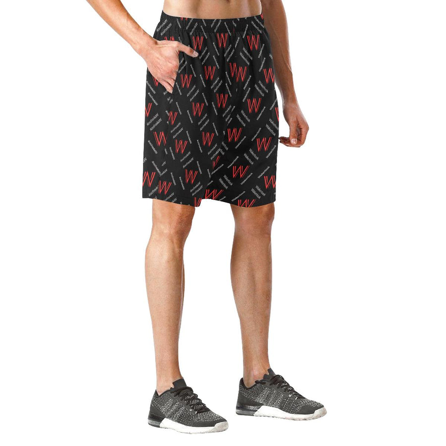Men's Black Wakerlook Print Elastic Fashion Shorts