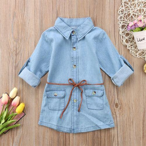 Baby Kids Girl Clothing Denim Short Mini Dresses