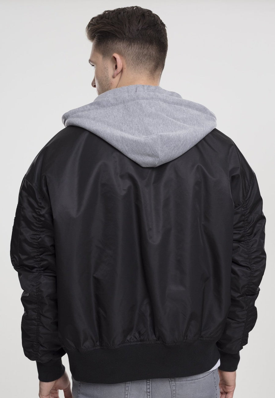 Hooded Oversized Bomber Jacket - Black/Grey