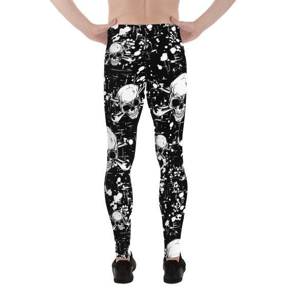 Mens Leggings - Black Skull Leggings