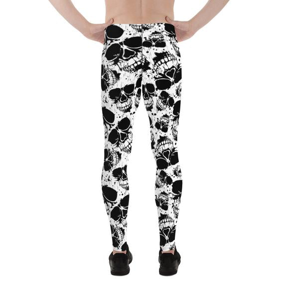Mens Leggings - Black and White Skull Leggings