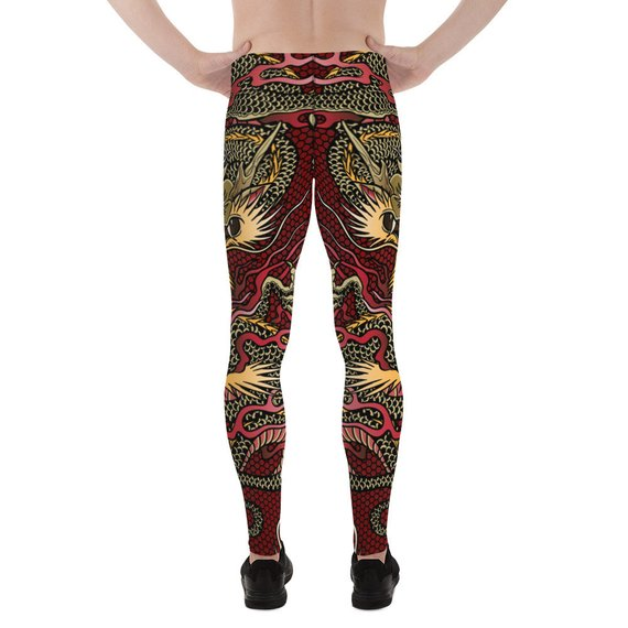 Mens Leggings - Red Dragon Leggings