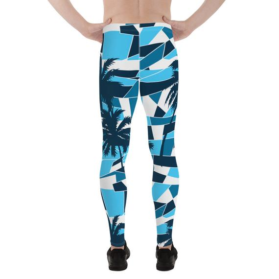 Mens Leggings - Blue Surf Tropical Palm Trees