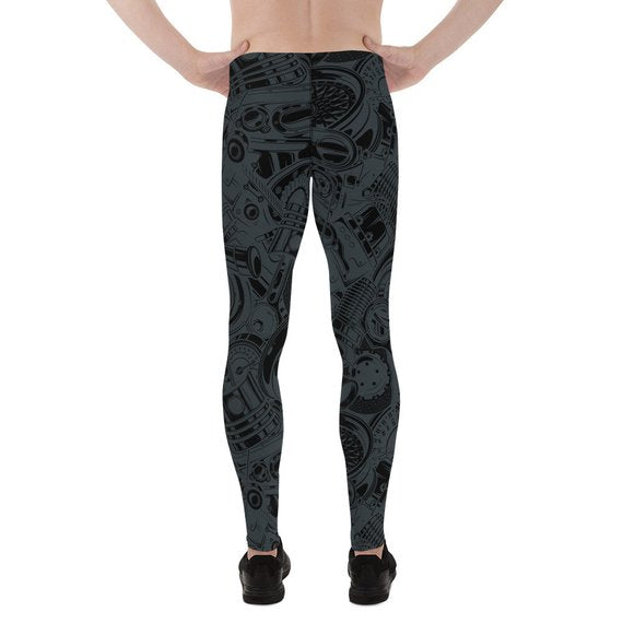 Mens Leggings - Black Leggings with Auto Parts