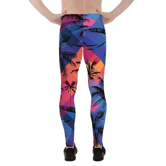 Mens Leggings - Tropical Palm Trees Surf Leggings