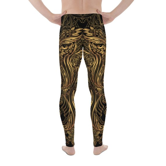Mens Leggings - Art Deco Steam Punk Owl Design
