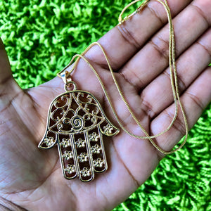 "14kt Gold Plated 18"" Hamsa Hand Necklace"