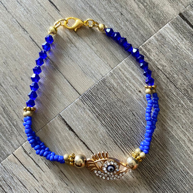 Blue Gold Evil Eye Bracelet