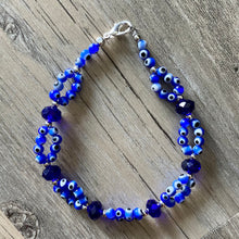 Load image into Gallery viewer, Blue Double Evil Eye Bracelet