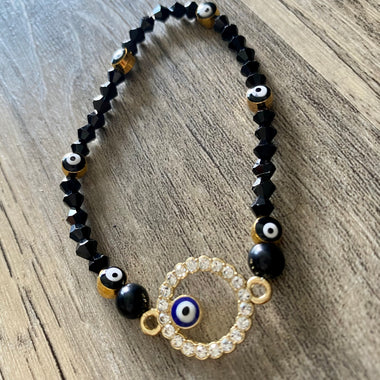 Black + Gold Evil Eye Bracelet