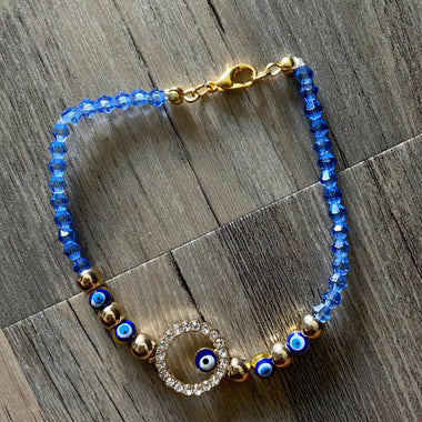 Light Blue + Gold Evil Eye Bracelet