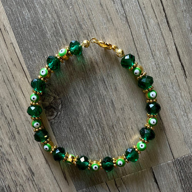 Green + Gold Evil Eye Bracelet
