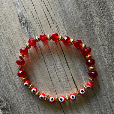 Red + Gold Evil Eye Bracelet