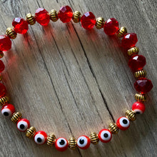 Load image into Gallery viewer, Red + Gold Evil Eye Bracelet