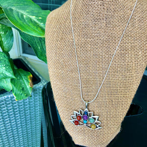 "Sterling Silver 18"" Lotus Chakra Necklace"