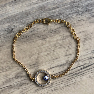 Gold Evil Eye Anklet
