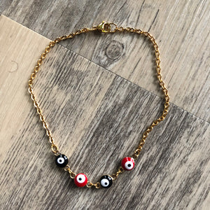 Red + Black Evil Eye Anklet