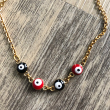 Load image into Gallery viewer, Red + Black Evil Eye Anklet