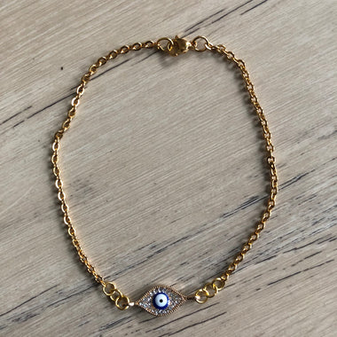 Gold Simple Evil Eye Anklet