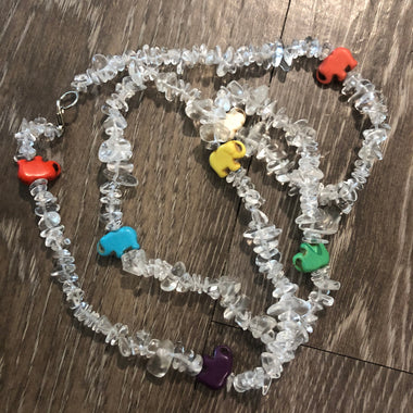 Clear Quartz + Colorful Elephant Charms Single Strand Waist Bead